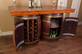 wine barrel bar and island set with wine rack and storage