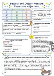 subject and object pronouns possessive adjectives worksheet