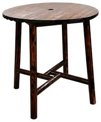 char log bar table rustic outdoor pub and bistro tables by