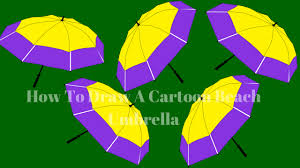 how to draw a cartoon beach umbrella how to draw a cartoon beach