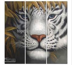modern abstract painting painting tiger triptych