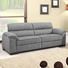 Fabric Recliner Sofa by Ealing Two Tone Mid Grey Fabric Sofa Collection With Black Piping