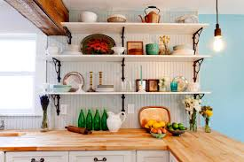 Open Kitchen Shelving Ideas by Decorating Ideas For A More Cheerful Kitchen Wondrous Kitchen