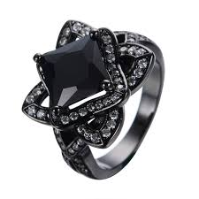 black sapphire rings images Flower band cz princess cut black stone ring women vintage jewelry jpg