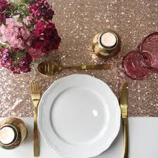 gold table runner and placemats rose gold sequin table runner the sweet party shop
