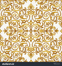 Victorian Design Vector Seamless Pattern Golden Ornament Vintage Stock Vector