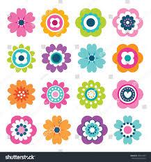 spring flower set flat spring flower icons silhouette stock vector 590312945