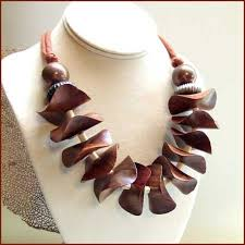 wood beads necklace designs images Dark brown wood bead necklace unique costa rican design jpg
