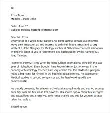 ideas of sample reference letter for medical student with summary