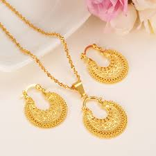 necklace pendant design gold images Ethiopian jewelry set pendant necklace earring fashion dubai jpg