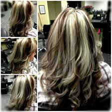 pics of platnium an brown hair styles chunky platinum highlights with red brown lowlights