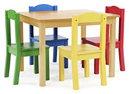 Yellow Kitchen Table And Chairs - amazon com tot tutors kids wood table and 4 chairs set natural