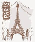 paris vector logo design template eiffel tower drawn in a simple