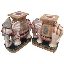 elephant end tables ceramic elephant garden stands stools vintage pair side end tables vietnam