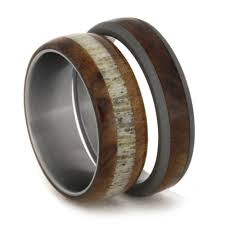 mens wooden wedding bands wood wedding band set elk antler ring with mens titanium ring