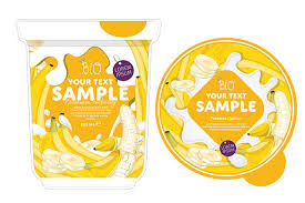 royalty free banana yogurt packaging design template clip art