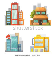 House Flat Design Flat Design Retro Modern City Houses Stock Vector 654101989