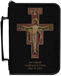 san damiano crucifix san damiano cross personalized black catholic bible cover