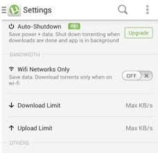 utorrent android utorrent for android how to set the maximum upload limits