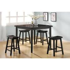 Tall Dining Room Sets Acme Gaucho 5 Piece Black Bar Table Set 07288 The Home Depot