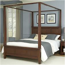 furniture black wooden canopy bed frame with headboard and grey