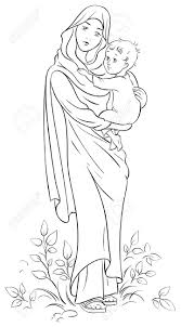 virgin mary holding baby jesus royalty free cliparts vectors and