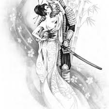 japanese geisha and samurai design