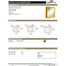 design house 545277 claremont honey oak tri view medicine cabinet