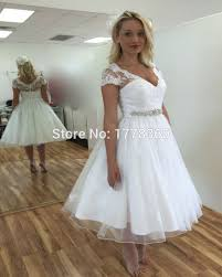 compare prices on lace cap sleeve tea length wedding gown online