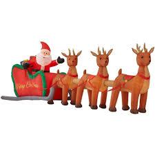 Lighted Sleigh And Reindeer by Amazon Com 16 Ft Santa Sleigh Reindeer Christmas Inflatable