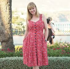 red fifties style sundress with synchronised swimmers print