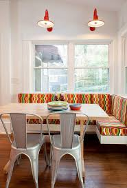 corner kitchen banquette dining room contemporary with colorful