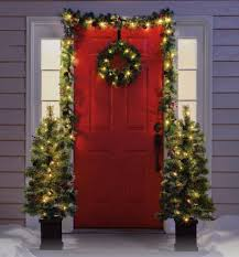 lighted christmas tree garland beautiful christmas front porch home decoration featuring two