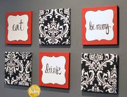 "Red and Black Damask Eat Drink Be Merry ""Chef"" Wall Decor Set"