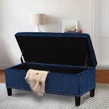 Storage Ottoman Blue Adeco Royal Blue Microfiber Rectangular Tufted Storage Bench