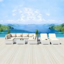 White Wicker Patio Furniture Modenzi 9g Outdoor Sectional Patio Furniture White Wicker Sofa Set