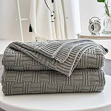 ntbay 100 cotton cable knit throw blanket soft