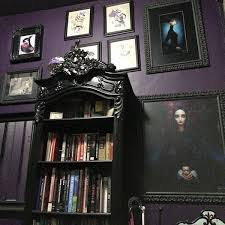 victorian gothic home decor gorgeous gothic style bookshelf against a purple eggplant wall