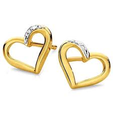 gold earing facetzinspire diamond heart gold earring gold earrings homeshop18