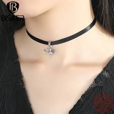 black choker necklace aliexpress images Bisaer fashion 925 sterling silver cute dragonfly pendant black jpg