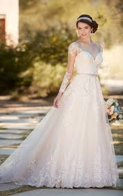 a line wedding dress a line wedding dress with organza skirt essense of australia