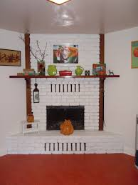 just finished painting our kitchen brick fireplace went with a