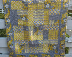 Grey And Yellow Comforters Yellow Quilt Etsy