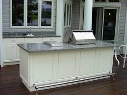 Outdoor Kitchen Design And Decoration Using Grey Marble Kitchen - Outdoor kitchen cabinets polymer