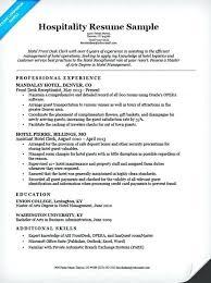 hospitality resume exle resume sle resume for hotel
