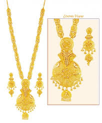 gold long necklace set images 22k gold patta necklace set ajns59270 22k gold long necklace jpg