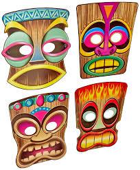 Amazon Com Beistle 66805 4 Pack Tiki Masks 10 Inch Kitchen U0026 Dining