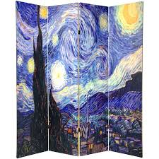 Canvas Room Divider 6 Ft Tall Double Sided Works Of Van Gogh Canvas Room Divider