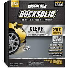 Rustoleum Epoxy Basement Floor Paint by Rust Oleum Rocksolid 90 Oz Clear Top Coat Garage Floor Kit 286897