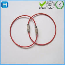 wire key rings images Factory supply red stainless steel wire rope lock luggage tag key jpg